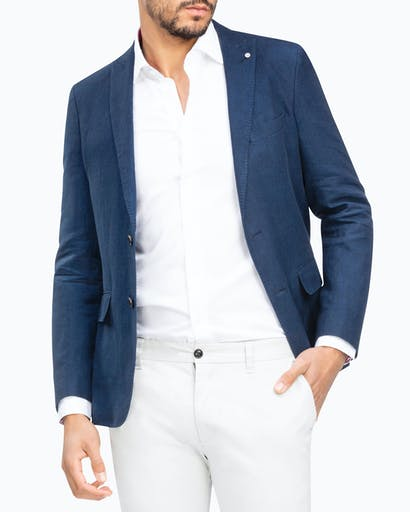 Slim Fit Linen Blend Sporting Blazer -