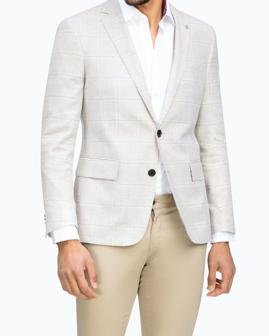 Slim Fit Linen Stretch Blend Sporting Blazer -