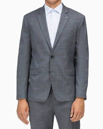 Suit Jacket Slim Fit Grey With Black + Blue Window Check -