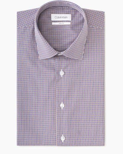 Business Shirt Brown Navy Mini Check -
