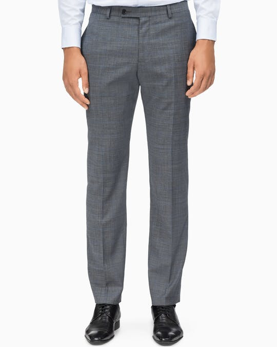 Suit Pant Slim Fit Grey With Black + Blue Window Check -