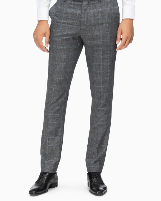 Suit Pant X Slim Fit Charcoal + Blue Window Check -