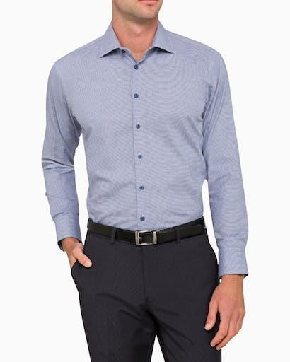 Business Shirt Navy Micro Check -