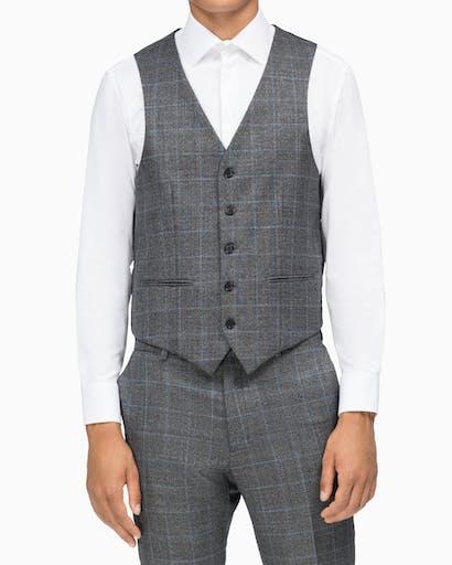Vest X Slim Fit Charcoal + Blue Window Check -