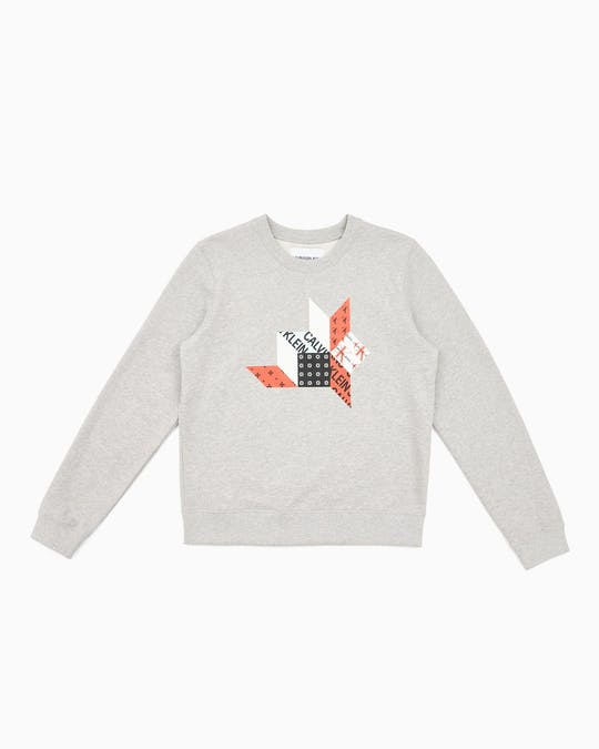 Quilt Graphic Crew Neck Sweater -