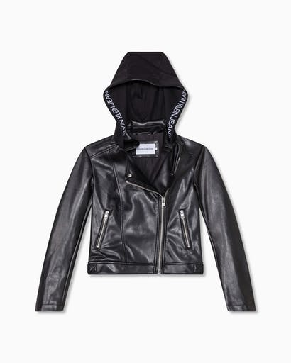 Faux Leather Hooded Jacket -