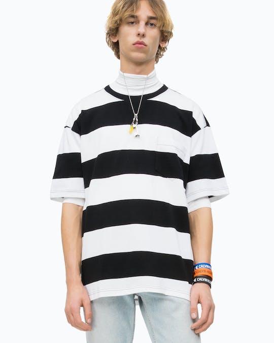 Wide Stripe Pocket T-Shirt -