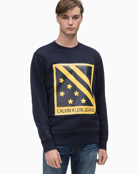 Big Chest Badge Crew Neck Sweatshirt -