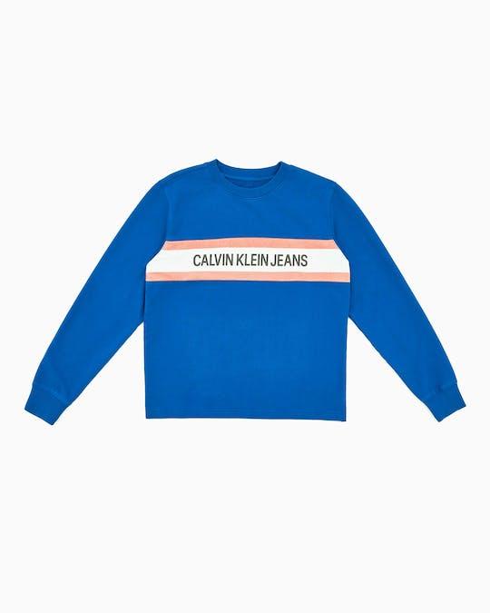 Institutional Logo Stripe Crew Neck Sweater -