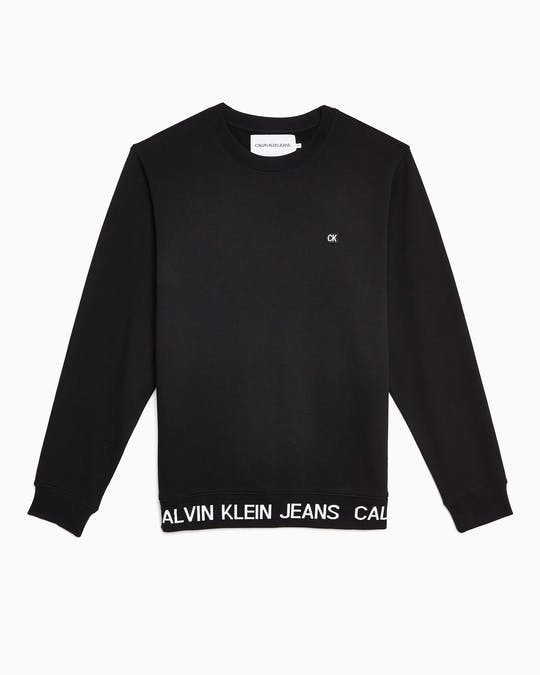 Institutional Logo Waistband Crew Neck Sweater -