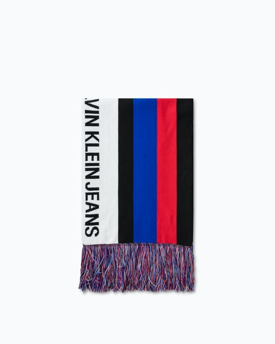 CKJ PUNK STRIPE SCARF CIX RED MNS HAT -