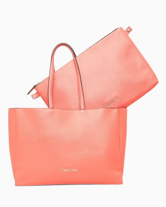 SIDED SHOPPER W/ LAPTOP SLEEVE CORAL -