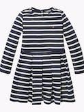 STRIPE KNIT DRESS BLACK IRIS/WHITE -