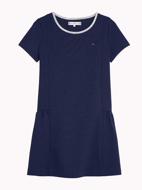 Girls 3-7 Contrast Neckline Short Sleeve Dress