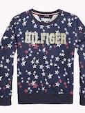 Girls 3-7 Star Print Crew Neck Sweatshirt