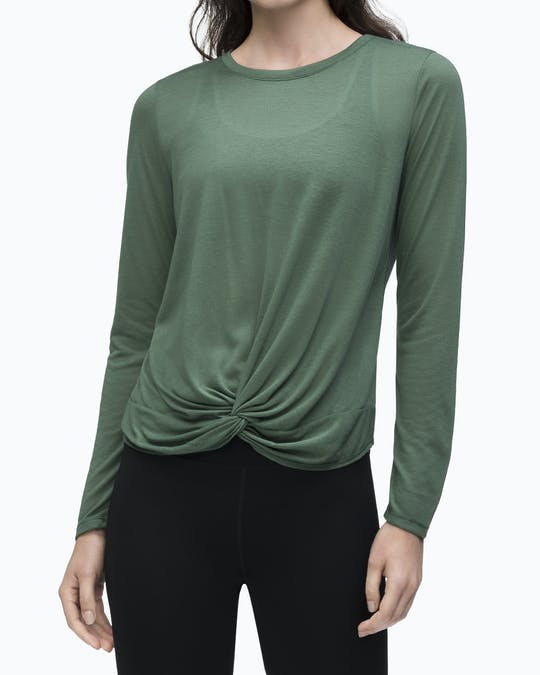 TWIST FRONT LONG SLEEVE TEE RAINFOREST -