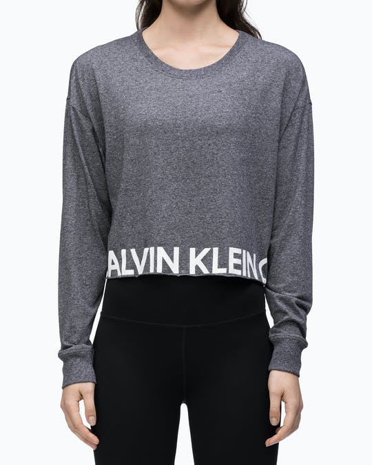 LS RAW HEM PULLOVER BLACK HEATHER COMBO -