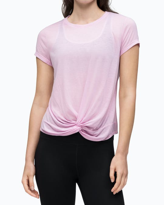 TWIST FRONT SHORT SLEEVE TEE AZALEA -