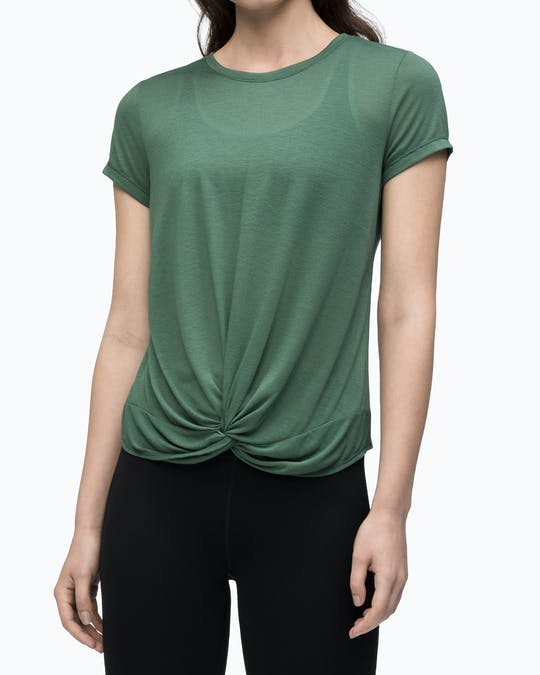 TWIST FRONT SHORT SLEEVE TEE RAINFREST -
